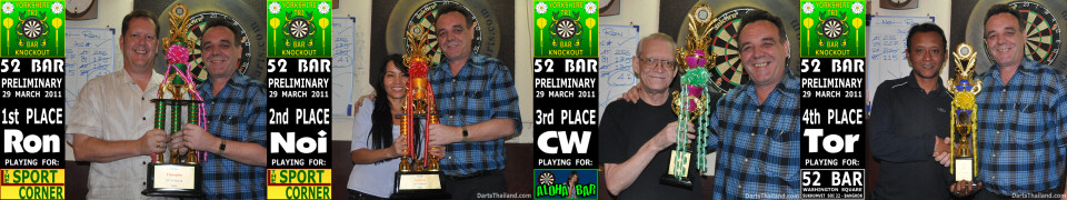 Ron, Noi, CW, Tor winners Yorkshire Darts Tri Bar Knockout Tournament